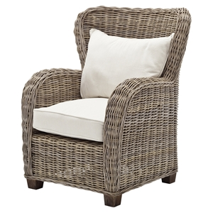 Wickerworks Queen Chair with Cushions - Natural Gray