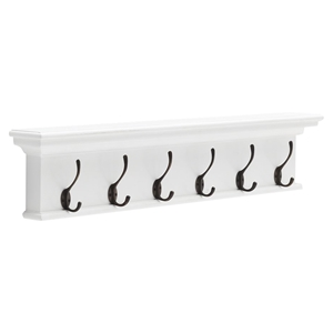 Halifax 6-Hook Coat Rack - Pure White