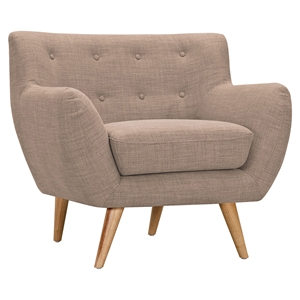 Ida Button Tufted Upholstery Armchair - Light Sand