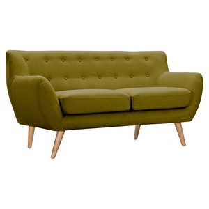 Ida Button Tufted Upholstery Loveseat- Avocado Green