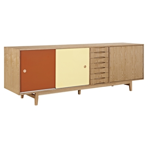 Alma 7 Drawers Sideboard - Natural with Red Door