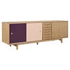 Alma 7 Drawers Sideboard - Natural with Plum Door - NYEK-224405-NP