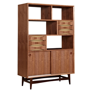 Hanna Storage Unit - Walnut and Metallic Brass