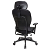 Space Seating 29 Series Black Leather Manager's Chair with Adjustable Headrest - OSP-29008
