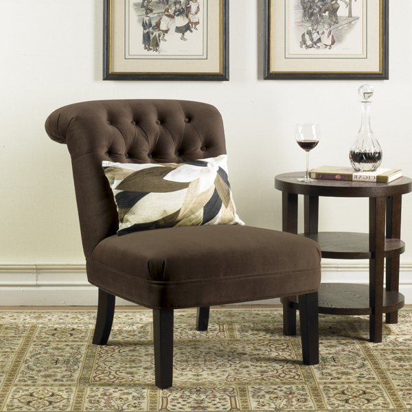Avenue Six Cortez Tufted Chair in Queens Chocolate