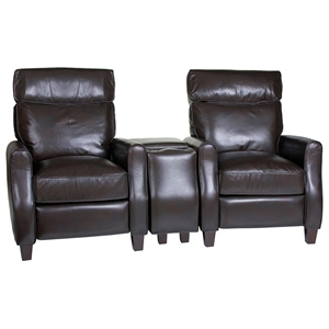 Venice 3 Piece Home Theater Seating - Baron Chocolate Leather