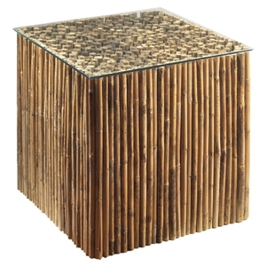 Square End Table - Bamboo Stick Bunch Base, Glass Top