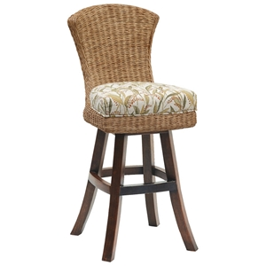 Bahama Breeze 31 Swivel Bar Stool - Cushion, Abaca