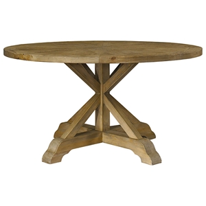 Salvaged Wood Round Dining Table - Pedestal Base
