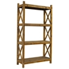 Salvaged Wood 3-Shelf Bookcase - Natural, X Sides - PAD-SAL23