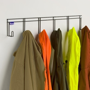 Coat Rack - 6 Hooks, Coated Wire, Black