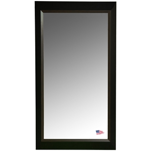 Rectangular Mirror - Black Frame, Brown Wood Lining