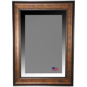 Wall Mirror - Bronze Finished Frame, Black Trim, Beveled Glass