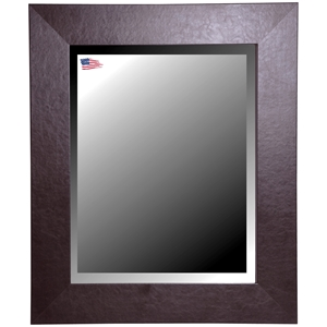 Wall Mirror Wide Brown Leather Frame Beveled Gl
