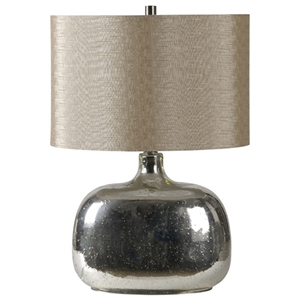 Barilla Table Lamp - Mercury Glass, Beige Trimless Shade