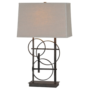 Aria Table Lamp - Antique Bronze Finish, Hoop Accents