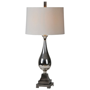 Jerrica Table Lamp - Silver Plated Metal, Off-White Silk Shade