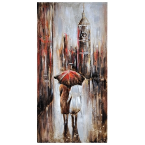 Keeping Dry in Paris I Oil Painting - Rectangular Canvas
