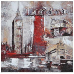 Memories of London Oil Painting - Textured, Square Canvas