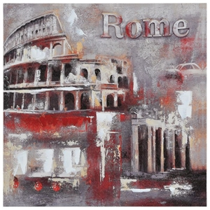 Memories of Rome Oil Painting - Textured, Square Canvas