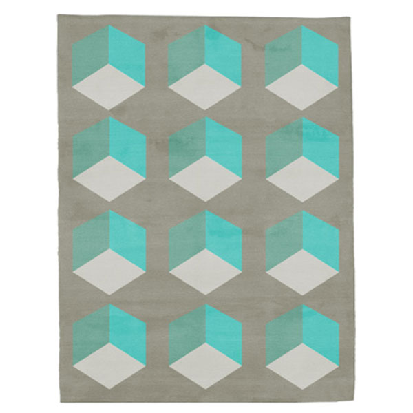 Cubizzmo No.1 - Beige & Turquoise Rug