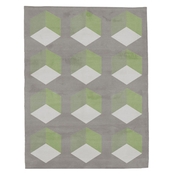 Cubizzmo No.1 - Grey & Green Rug
