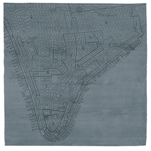 Lower Manhattan No.2 - Cold Blue Rug