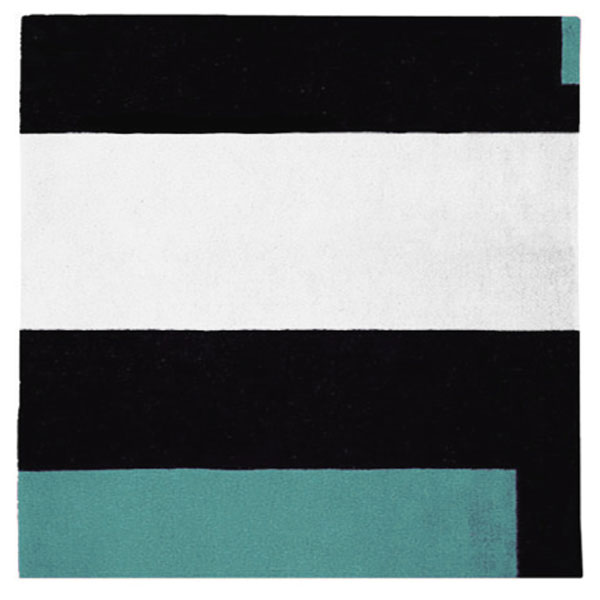 Square Soul Icheon - Black, White & Nawana Blue Rug