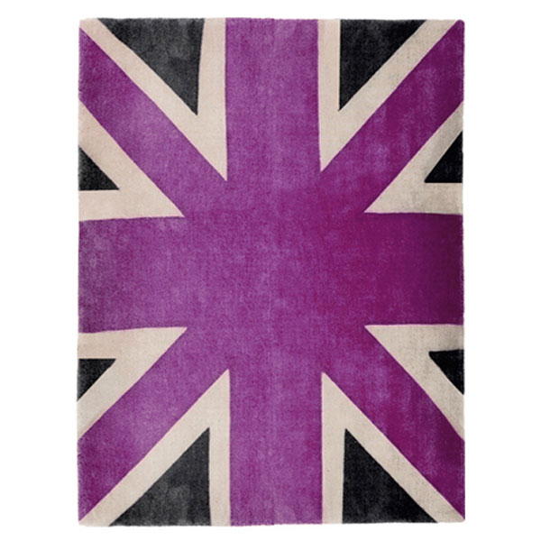 Union Jack - Purple, Beige & Dark Grey Rug