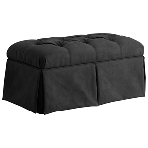 Pyxis Skirted Storage Bench - Velvet, Tufting, Black