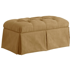 Pyxis Skirted Storage Bench - Velvet, Tufting, Honey