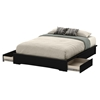 Basic Queen Platform Bed - 2 Drawers, Pure Black - SS-10164
