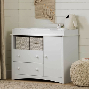 Peek-a-Boo White Changing Table with 3 Drawers