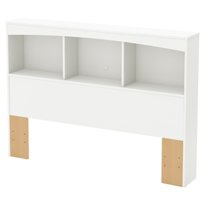 Step One Full Bookcase Headboard - 3 Compartments, Pure White