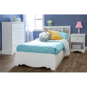 Crystal White Bedroom Set with Twin Mate%27s Bed
