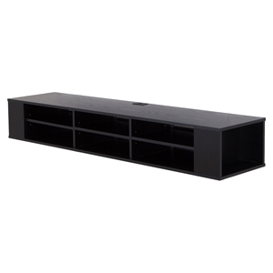 "City Life 66"" Wide Wall Mounted Media Console - Black Oak"