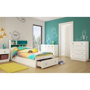 Little Monsters Twin Mates Bedroom Set - 1 Drawer, Pure White