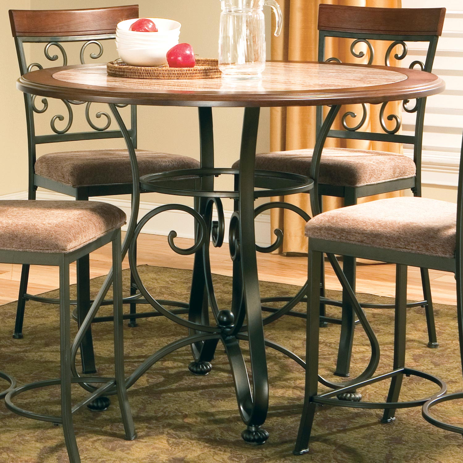 Thompson Round Counter Table Cherry Top Wrought Iron Base Dcg Stores