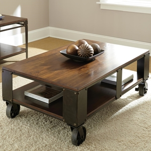 Barrett Cocktail Table - Wood, Antiqued Metal, Casters