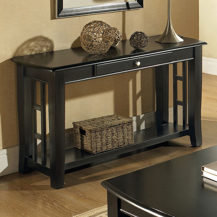 Cassidy Black Sofa Table With Curved Legs Dcg Stores