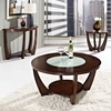 Rafael Demilune Sofa Table Crackled Glass Dark Cherry Wood