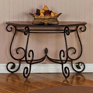 Crowley Sofa Table with Metal Scroll Accents