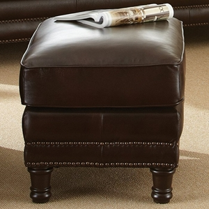Chateau Leather Ottoman - Nail Heads, Antique Chocolate Brown