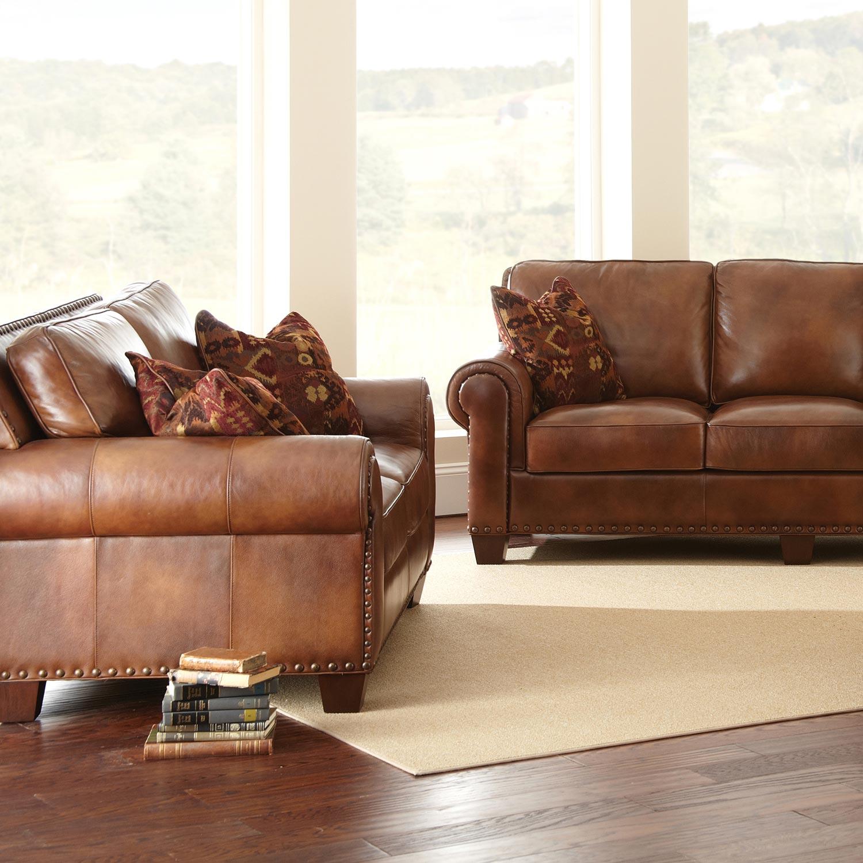 Silverado Loveseat Amp Sofa Set Caramel Brown Leather