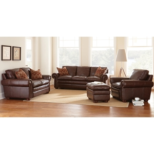 Yosemite Leather Sofa, Loveseat, & Chair Set - Akron Chestnut