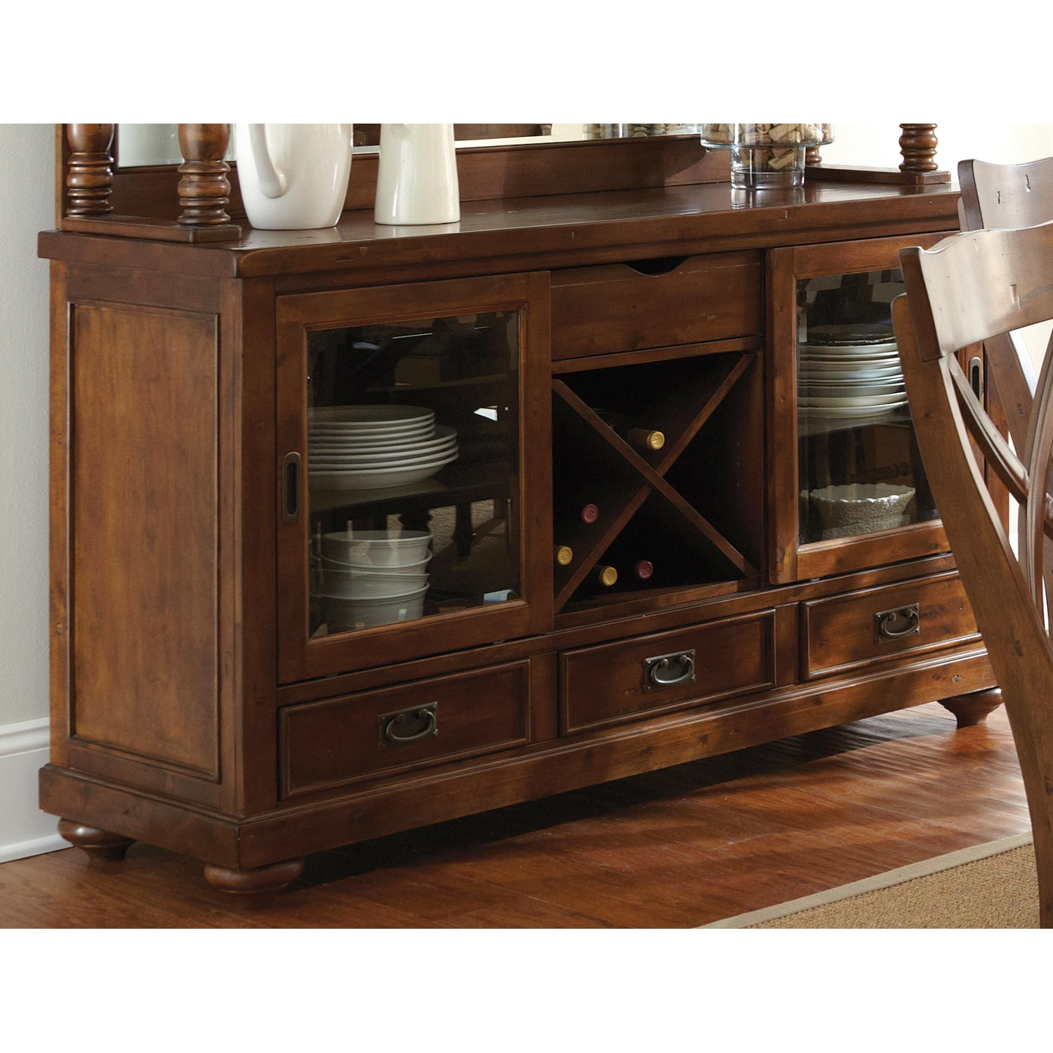 Wyndham Buffet Table Gl Doors Drawers Finish Dcg S