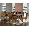 Ashbrook 5 Piece Round Dining Set Nail Heads Brown Oak Finish Dcg Stores