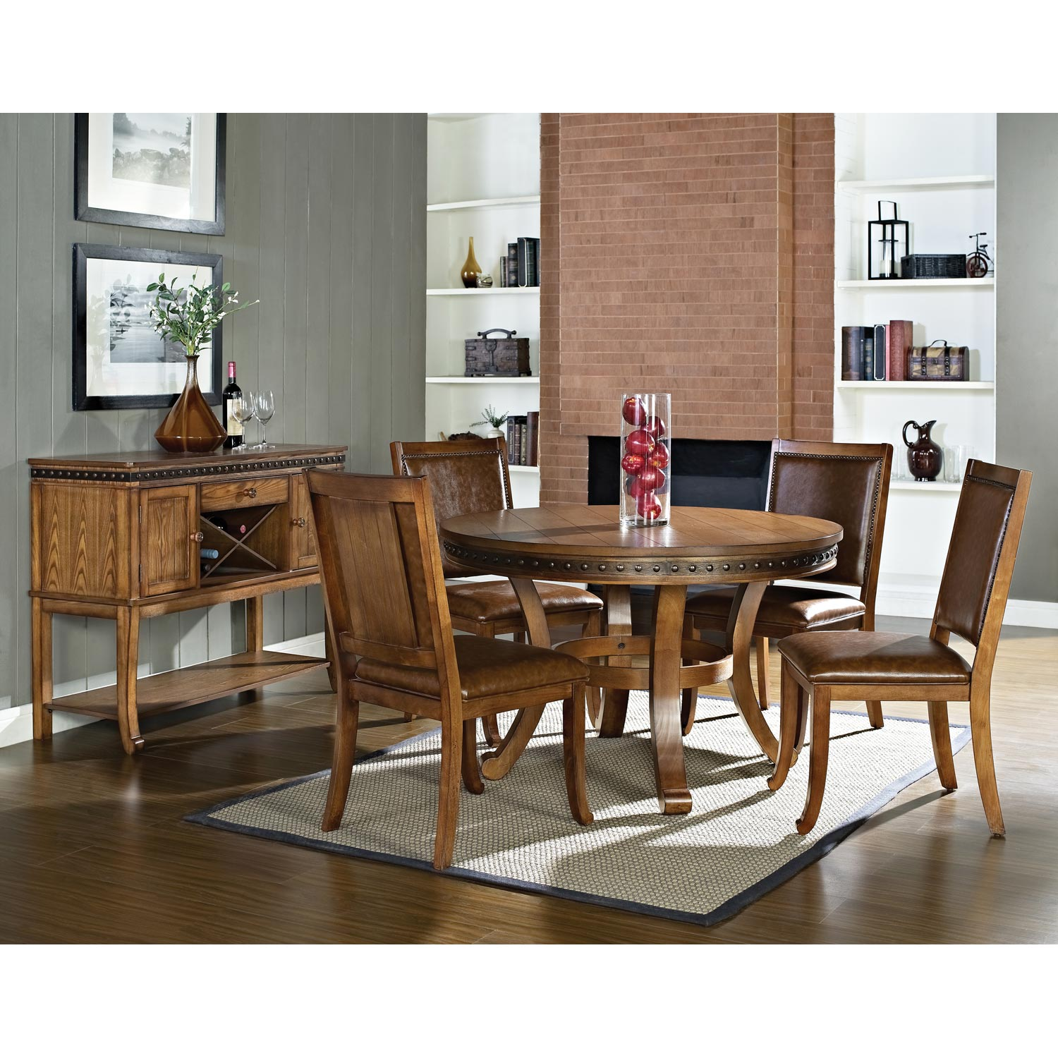Ashbrook Round Wood Dining Table Antique Nail Heads
