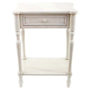 Wood Table - White, 1 Drawer
