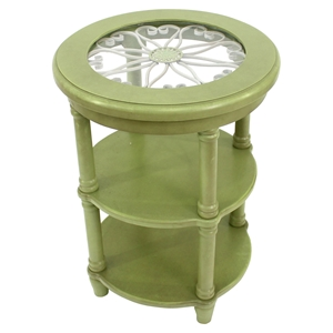 Wood End Tables - Green, 2 Shelves